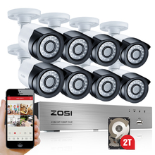 ZOSI HD-TVI 8CH 1080P 2.0MP Security Cameras System 8*1080P 2000TVL Day Night Vision CCTV Home Security 2TB HDD(China (Mainland))