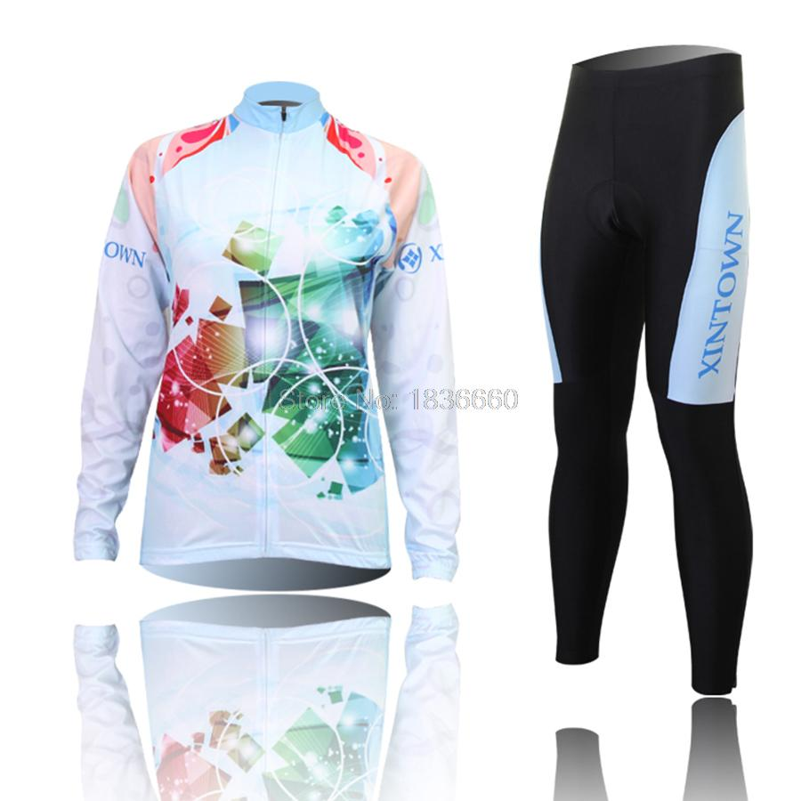 2015 New Spring Autumn Cycling Jersey sets Women bike wear clothing bicicleta Bright Long Sleeve MTB Sport bicycle clothes<br><br>Aliexpress