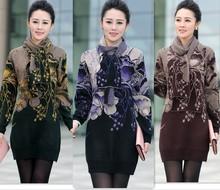 2015 Fashion new women sweater dress winter long woman sweater plus size knit sweater tunic purple,green,brown S,M,L,XL,XXL,XXXL(China (Mainland))