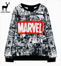 Cotton Pulloverfor Marvel printing harajuku sweatshirt O neck Black sweatwear women EXO kpop hip hop bts adventure time hoodies(China (Mainland))