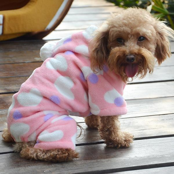 Puppy Pet Fleece Clothes Love Heart Hoodie Dog Cat Winter Warm Coat Jumpsuit Large(China (Mainland))