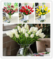 Free shipping pu mini tulip flower real touch wedding flower artificial flower white tulip home decoration