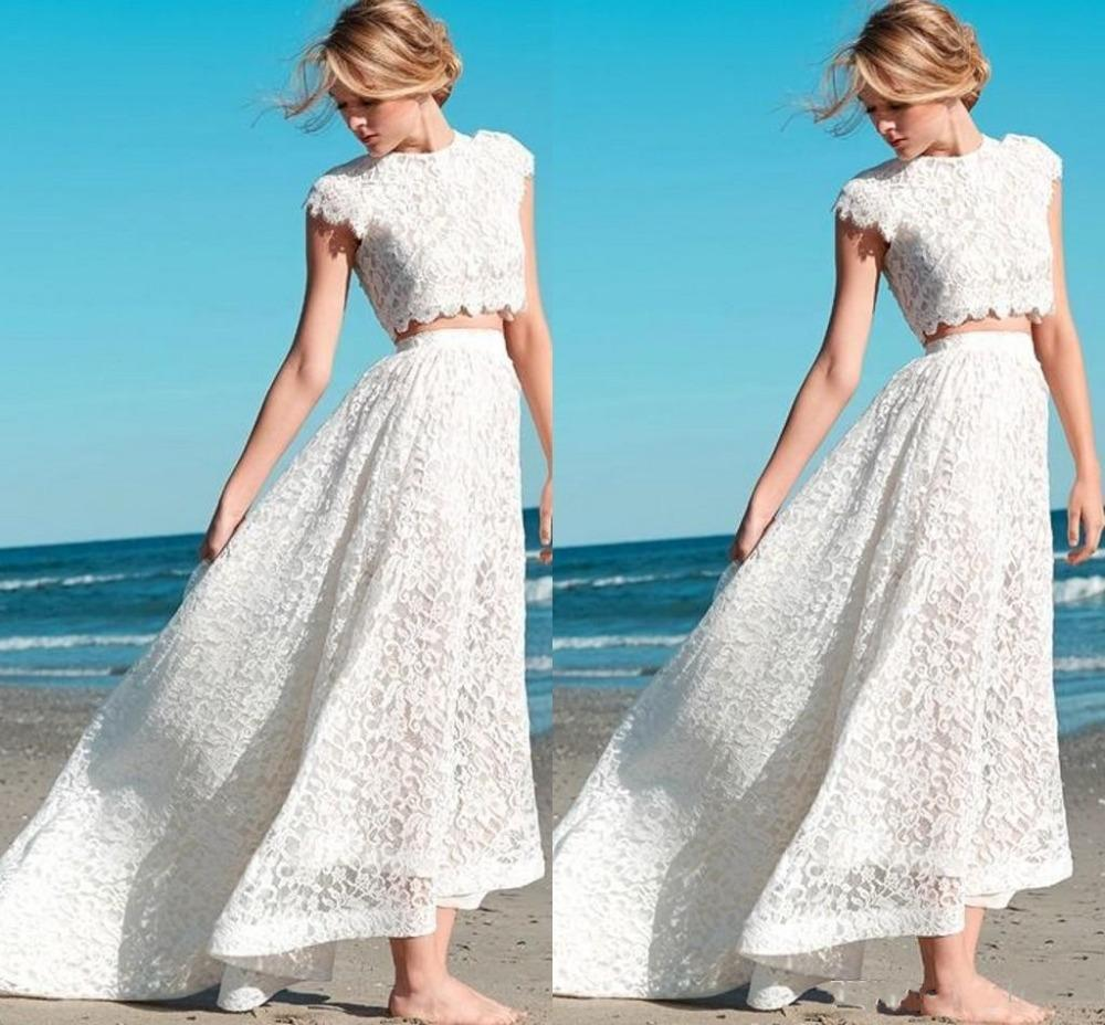 2015 summer crop top lace beach wedding dresses sexy two for Best beach wedding dresses