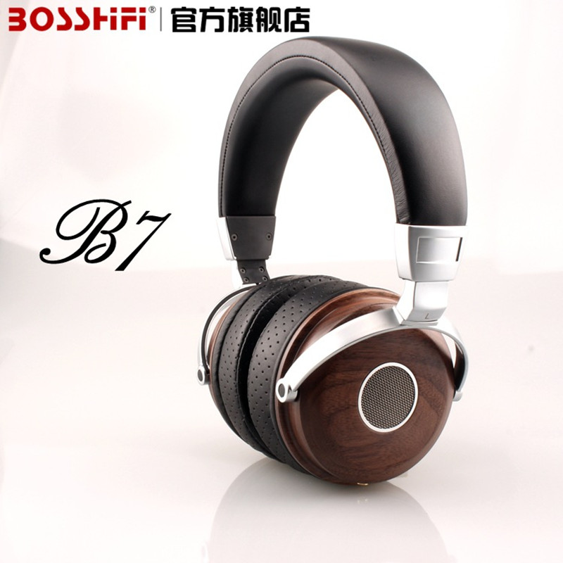 BOSSHiFi B7 Hifi Wooden Metal Headphones Black Mahogany Open Monitor Headset DJ Headphone With Beryllium Alloy Driver Earphone(China (Mainland))