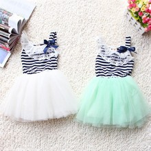 summer fashion new baby girl ball gown dress lace+cotton material 3 colors age 0-2 Free shipping & Drop shipping(China (Mainland))