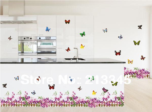 fundecor purple butterfly flower baseboard home decoration sticker  waterproof pvc kitchen wall tile stickers