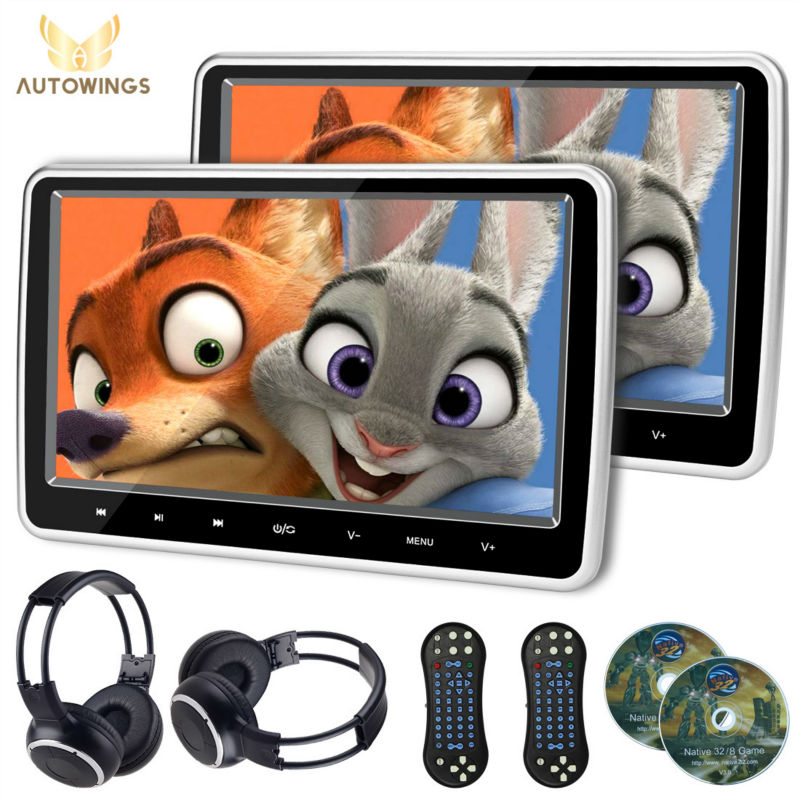 2 PCS 10.1 Inch 1024*600 TFT LCD Screen Car Headrest Monitor DVD Player USB/SD/HDMI/FM Touch Button 32 Bit Game Remote Control(China (Mainland))