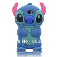 1pcs Freeshipping New Arrival Lovely Cartoon Silicone 3D Stitch Case for Samsung Galaxy Note 2 II N7100+screen protector(China (Mainland))