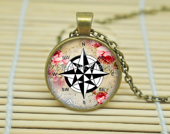 10PCS Compass Wind Rose pendant, Compass necklace charm Compass jewelry nautical jewellery Glass Cabochon Necklace A0021(China (Mainland))