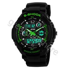 Militares S-Shock reloj para hombre de 2 times zona de luz de cuarzo cronógrafo deporte del silicón del reloj WA3001