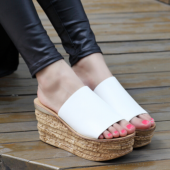 Platform 4 CM,Heels 8 CM,Summer New Wedges Women,3 Colors Fashion Casual Women Pumps,Roman style Basic High Heels,Size 35-39 - Tina's Shoes store