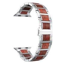De Madera correa de reloj Apple watch banda 5 4 44mm 40mm iWatch 3 banda 42mm 38 mm pulsera sándalo rojo Natural + correa de acero inoxidable(China)