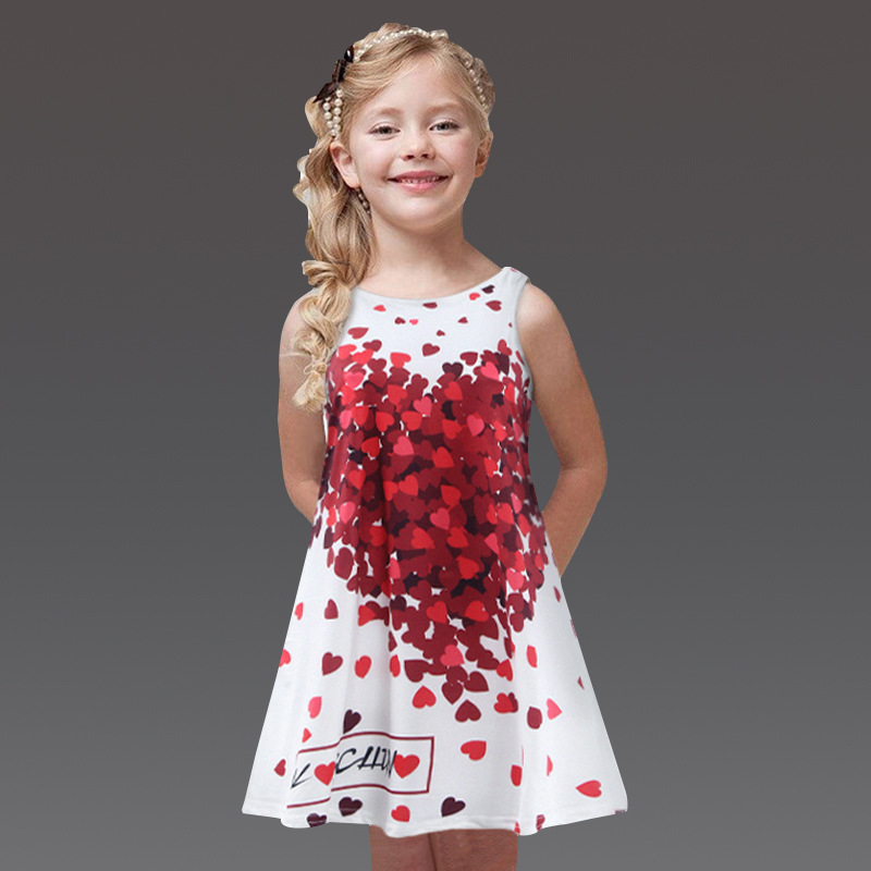 White Girl Dress Red Heart Print,Comfortable Girls Dresses Summer 2016,Lovely Princess Kids Clothes Girls,Roupas Infantis Menina(China (Mainland))