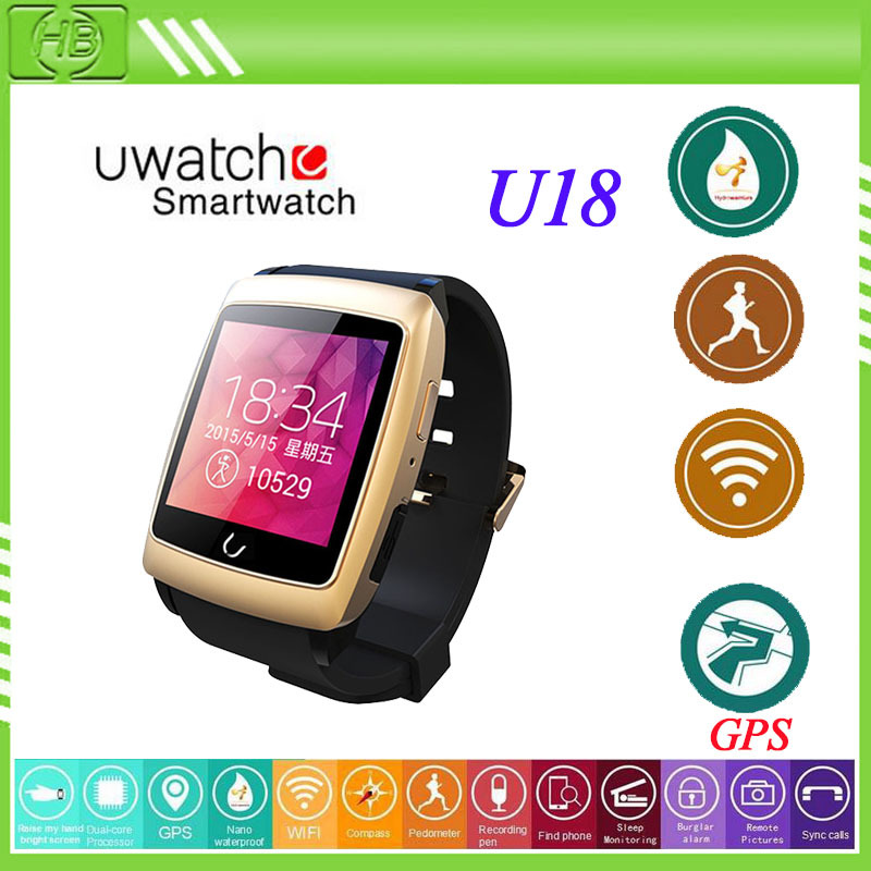 Bluetooth Smart Watch U18 GPS WIFI SMS NFC Android MTK Smartwatch Sport wristwatch for iPhone/Samsung/HTC Android Smart phones