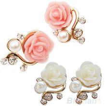 Korean Style OL Pink Rose Flower Shiny Crystal Rhinestone Pearl Stud Earrings  031K(China (Mainland))