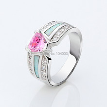 Opal Stone Rings Pink Sapphire 10KT White Gold Filled Rings For Women Lady s Jewelry Free