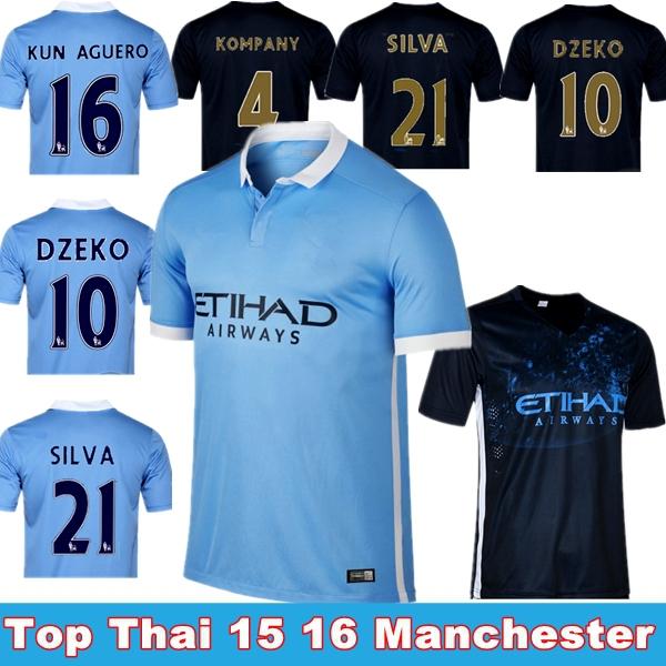 "Top Thai 2015-2016""Blue moon""Home Blue Away black green Soccer Jersey,15 16 SILVA, AGUERO ,YAYA TOURE ,S M L XL Football Shirt(China (Mainland))"
