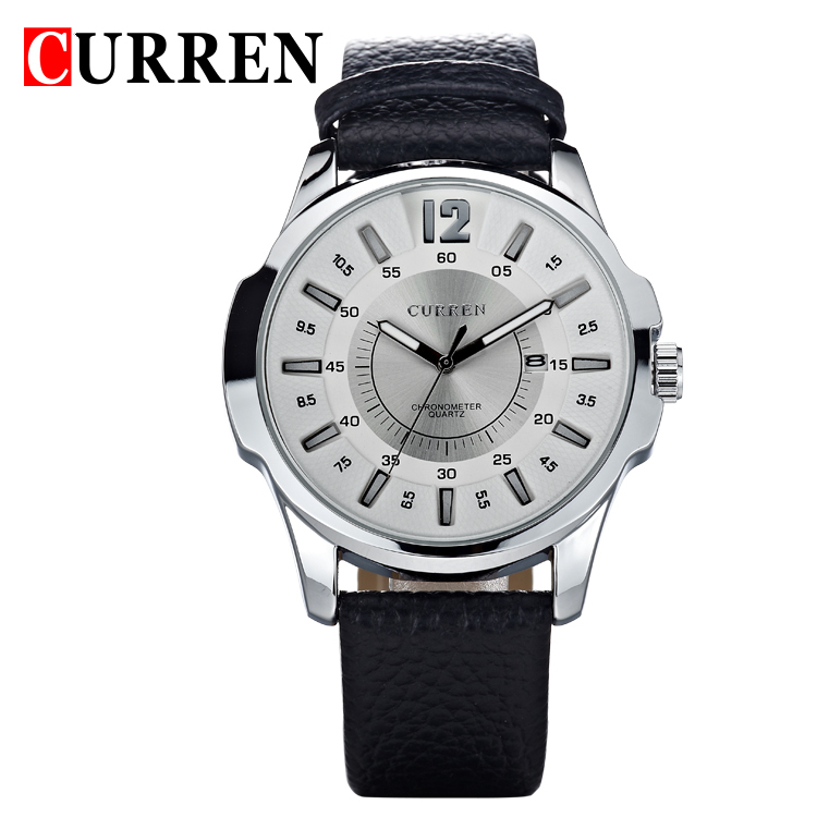CURREN new fashion casual quartz watch men large dial waterproof chronograph releather wrist watch relojes free shipping 8123<br><br>Aliexpress