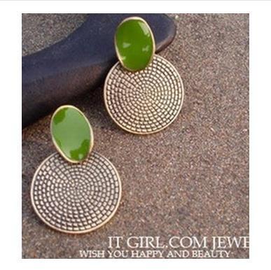Drip green restoring ancient ways round stud earrings(China (Mainland))