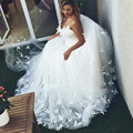 2016 Sweetheart robe de mariage Plus Size alibaba china Romantic Princess Ball Gown Tulle Butterfly Wedding