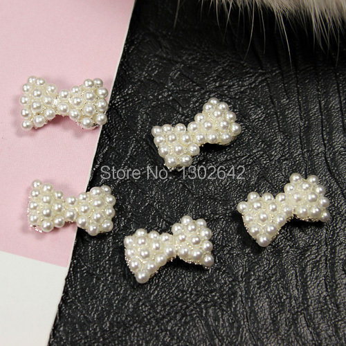 B410 10pcs/lot White Pearl Bow Tie 3D DIY Nail Tips Metal Stickers Decoration Glitting Nail Alloy Art(China (Mainland))