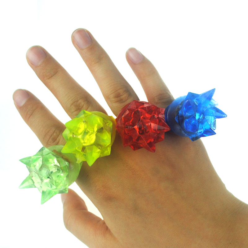Light-Up Toys 3*3*4cm Soft finger ring special fashion silicone led light up toy glowing finger party favors 5pcs/lot(China (Mainland))