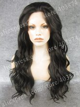 N6-4# Free Shipping Dark Brown Color Heidi Klum Supermodel Wig Water Wavy Synthetic Lace Front Wig