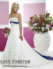 Vintage Style Silver Embroidery On Satin White and Royal Blue Wedding Dress 2015(China (Mainland))