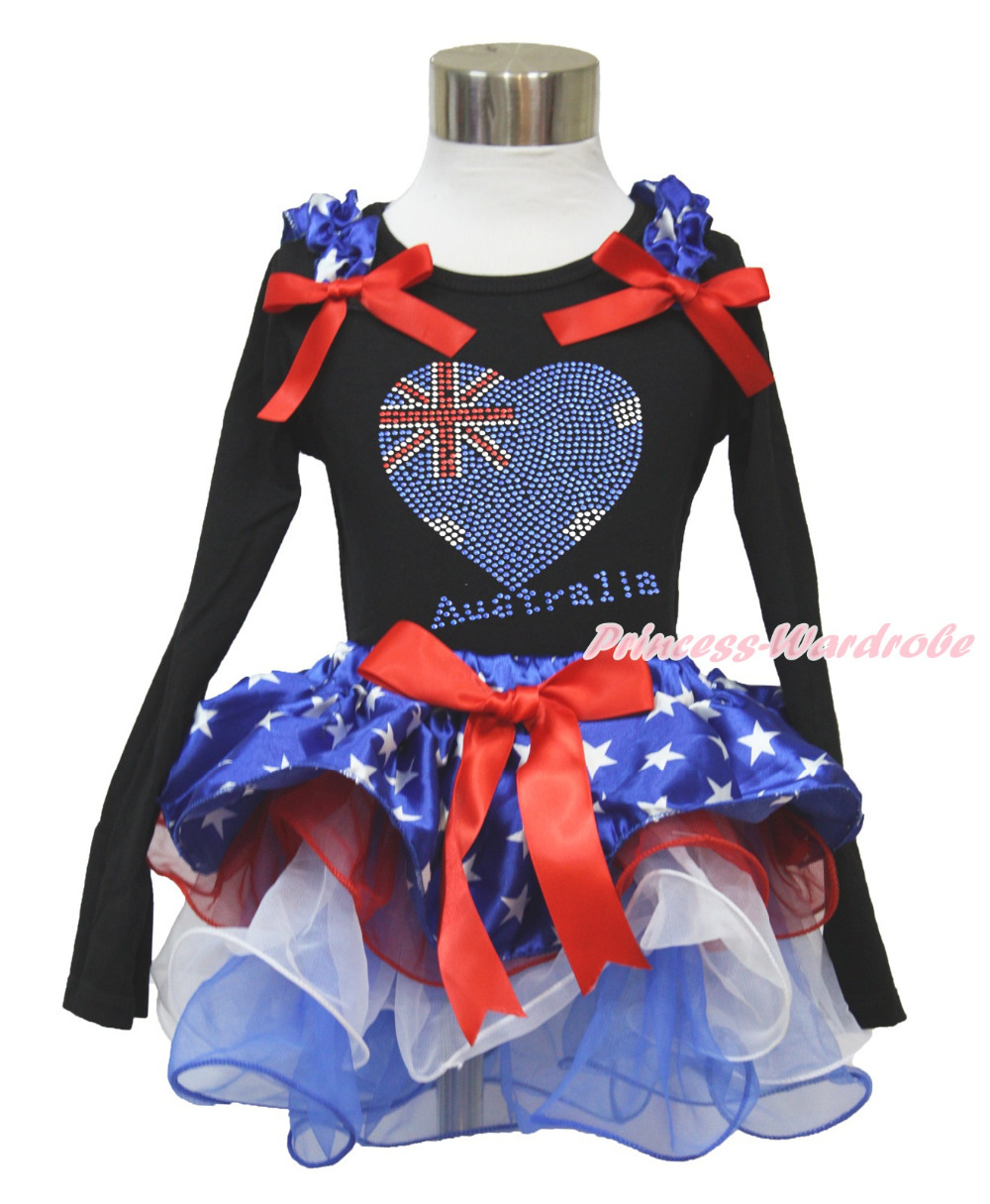 4th July Rhinestone Australia Heart Black L/S Top Patriotic Star Red White Petal Pettiskirt Girl NB-8Year MAMH232(Hong Kong)