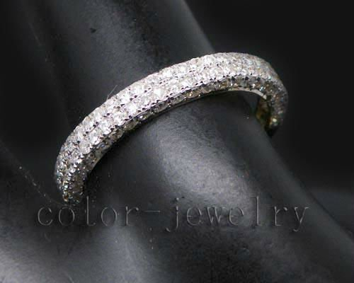 Full Cut Solid 14Kt Yellow Gold 0.66CT Pave Natural Diamond Band Ring For Wedding And Engaging(China (Mainland))
