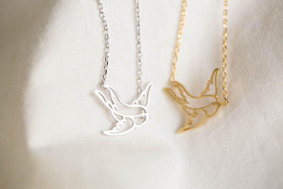 Hot Sale New Design Simple Fine Jewelry 18K gold silver baby flying bird pendant necklace Chain For Women High Quality(China (Mainland))