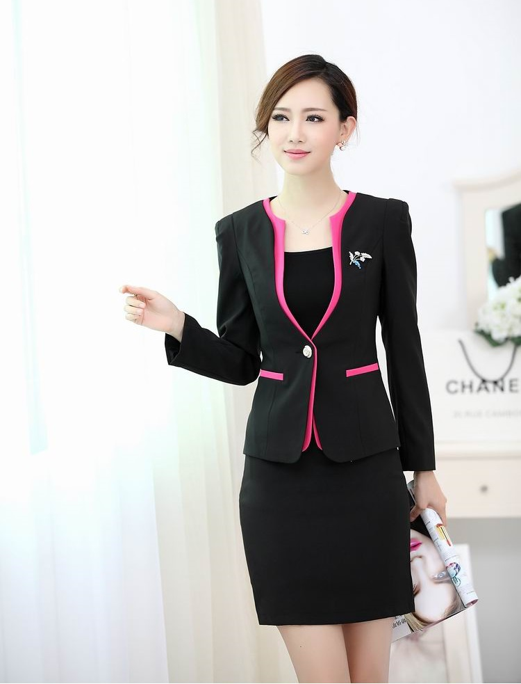 Formal ladies office uniform designs women suits with for Spa uniform design philippines