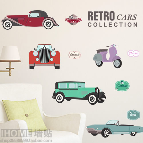 Removable wall stickers Vintage car living room Bedroom Restaurant Sofa Background wall stickers Home decoration Wallpaperposter(China (Mainland))