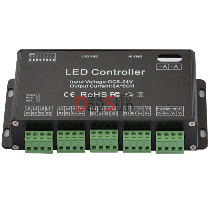 New Arrival DMX Controller 6 Channels High Power DMX Decoder for RGB led Strips Lamps Popular in Russia America Australia(China (Mainland))