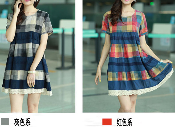 2015 New plus-size dress han edition loose short-sleeved grid cotton linen fashion sexy style the long cotton free shipping(China (Mainland))