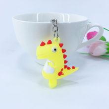 Criativo PVC keychain macio bonito dos desenhos animados da sereia flamingo estrela dinossauro saco anel chave do carro chaveiro pingente feminino pingente liga(China)