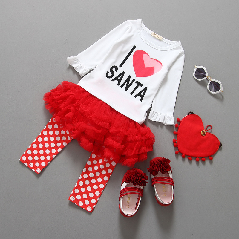 1-6years i Love Santa Claus Costume Kids Thanksgiving Fall Baby Girl Outfits tutu Red Lace Gauze Toddler Girl Clothing Dress set(China (Mainland))