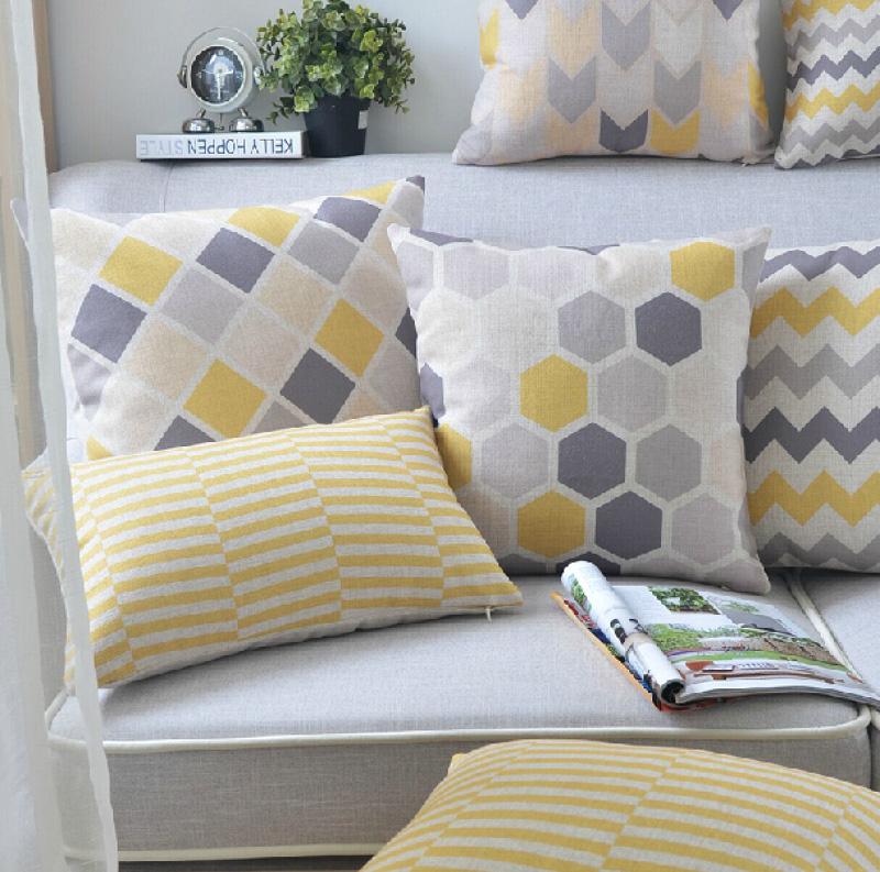 """18 """" quadrado geométrico simples de algodão de linho capa de almofada Ikea sofá cadeira carro casa decorativo jogar travesseiro fronha almofadas"""