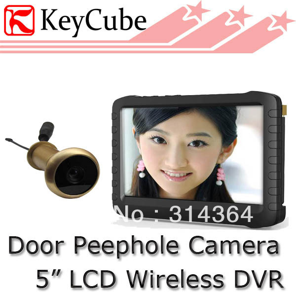5.8G Wireless Monitor Door Peephole Camera With DVR 90 Degree VOA;0.008lux;5-Inch Screen;800X600pix;Motion Detect Recording(China (Mainland))
