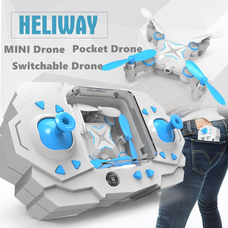 RC Mini Foldable Drone WIFI Camera Pocket Drone Switchable Controller 4CH 6Axis Gyro Quadcopter Helicopter with Flashing Light