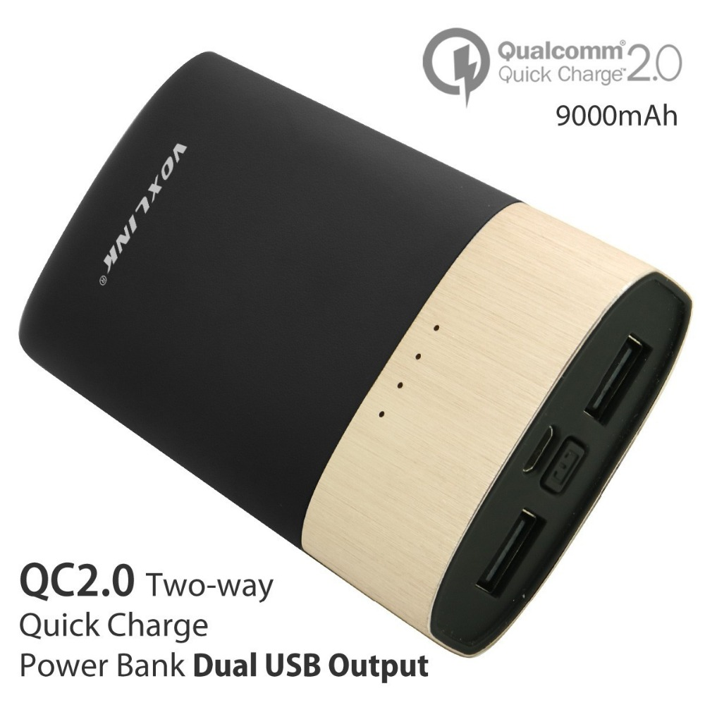 [Qualcomm Certified] VOXLINK  Quick Charge 2.0 Power Bank 9000mAh 5V 2.4A Battery Charging Powerbank For Samsung Sony Xiaomi