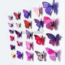 12pcs 3D Butterfly Sticker Art Wall Mural Door Decals Home Decor Room 2015 New(China (Mainland))
