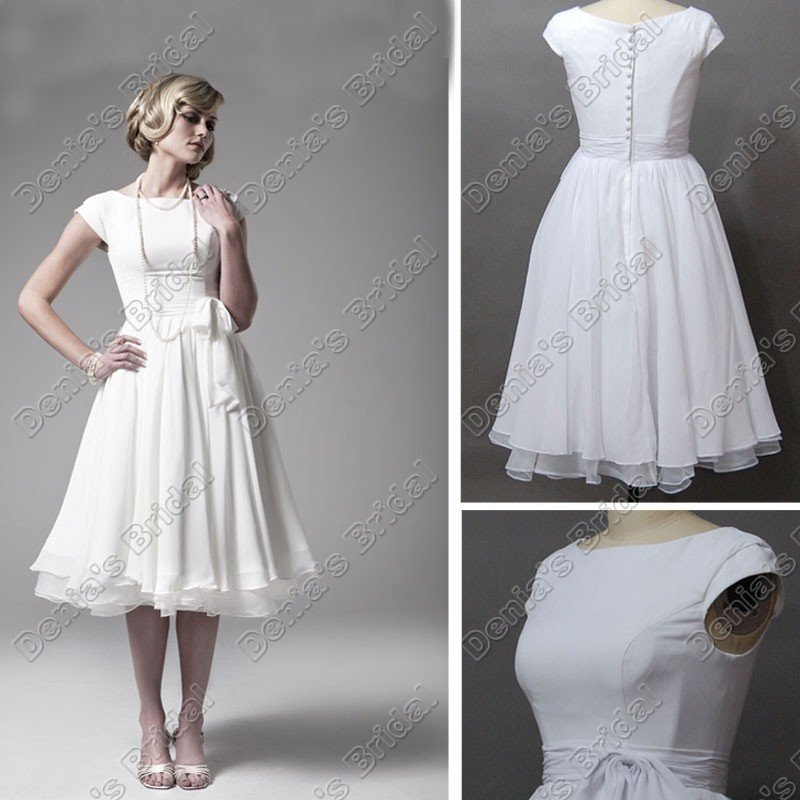 short sleeve tea length little white dress wedding dress in wedding