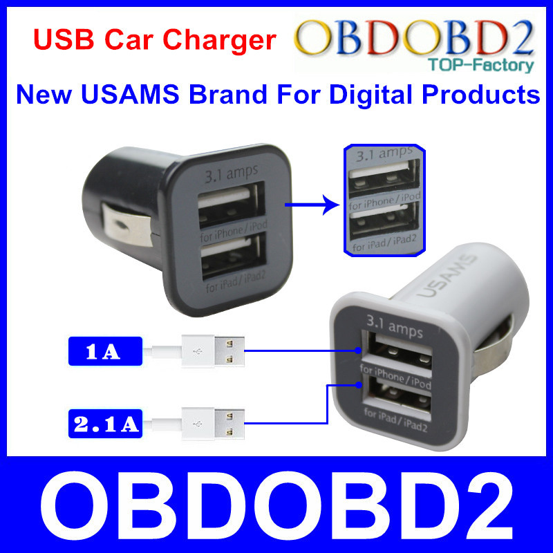 Mini Double USB Car Charger Micro USAMS Auto Charger Fastest To Supply Power For Phones Multi USB Powered Devices 5V 3.1A(China (Mainland))