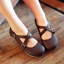 Fashion Crosstie Buckle Strap Women flats 2015 Brand Round toe Rome style Sweet Princess Spring Summer Shoes Flat Shoes Women
