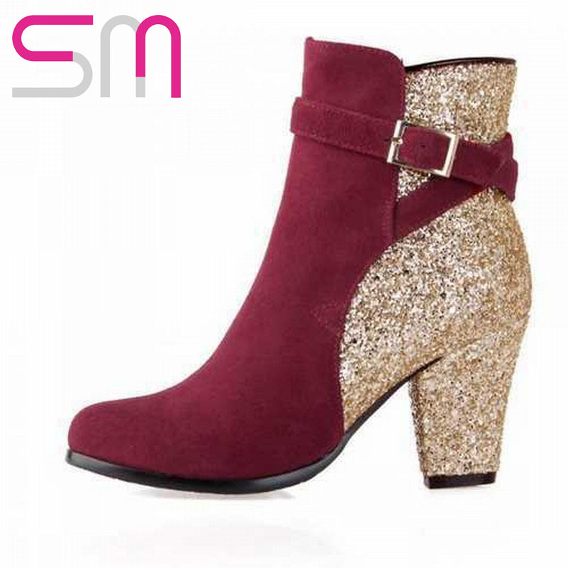 Genuine Leather Fashion Patch Color Buckle Glitter Ankle Boots 2015 High Heels Boots Autumn Winter Boots Women Boots Shoes Woman