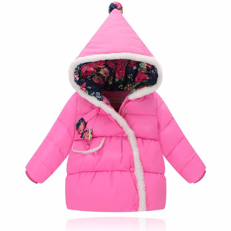 Kızlar için kış ceketler 2016 yeni moda çiçek kız parka mont kalın polar sıcak kız aşağı ceket snowsuit