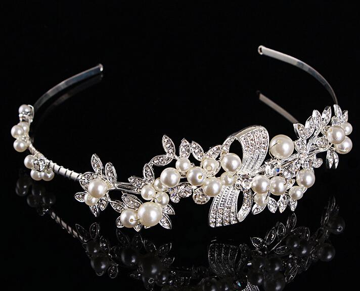 AAA quality faux pearl crown tiara clear crystal rhinestone headwear hairband wedding bridal hair jewelry accessories 1pc(China (Mainland))