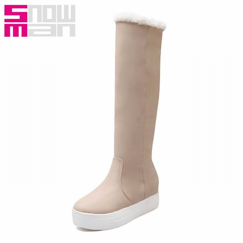 2015 Warm Winter Thick Fur Snow Boots Height Increasing Platform Knee High Boots Snow Shoes Winter Boots 2 ways of Wearing
