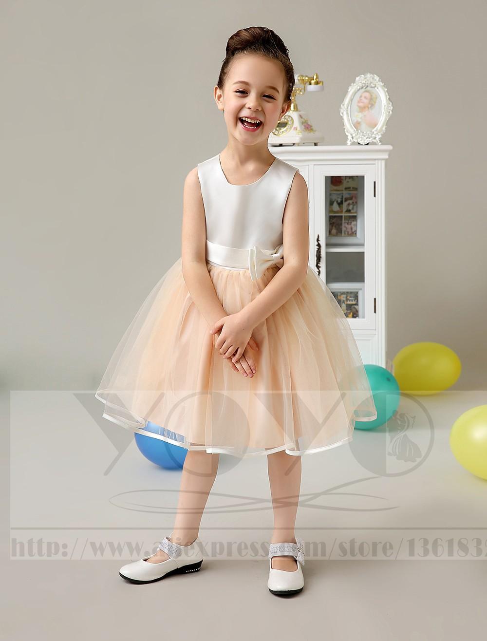 Скидки на -Линии Атласная И Тюль розовый маленькие девочки платья с sash бантом Дети Pageant Платья дети девушки повседневные платья